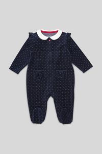 C&A Baby-Schlafanzug-Bio-Baumwolle-gepunktet, Blau, Größe: 92