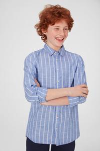 C&A Hemd-gestreift, Blau, Größe: 176