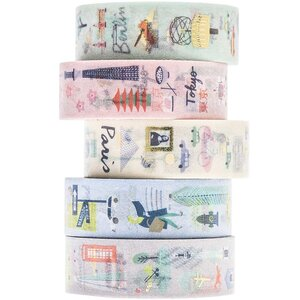 Paper Poetry Tape Set Cities 1,5cm 10 m 5 Stück