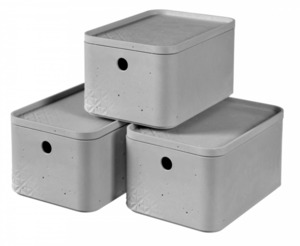 Curver 3er Set Betonoptik Box S mit Deckel, grau