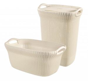 Curver 2er Set Knit Wäschebox 57L & Korb 40L, creme