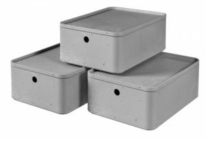 Curver 3er Set Betonoptik Box M mit Deckel, grau