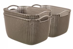 Curver 3er Set Knit Korb L, braun