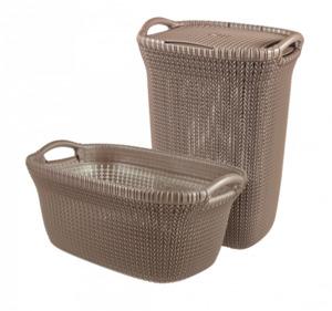Curver 2er Set Knit Wäschebox 57L & Korb 40L, braun