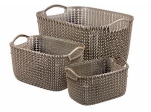 Curver 3er Set Knit Korb L+S+XS, weiß