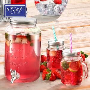 Henkelglas - mit Deckel und Trinkhalm - ca. 450 ml Inhalt - versch. Ausführungen - je