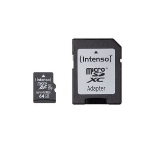 INTENSO micro SDXC Card 64GB UHS-I mit Adapter (Class 10, UHS-I, Maximale Datentransferrate: Bis zu 45 MB/s)