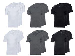LIVERGY® Unterhemd Herren, 3 Stück, mit Rundhals- oder V-Ausschnitt, aus reiner Baumwolle