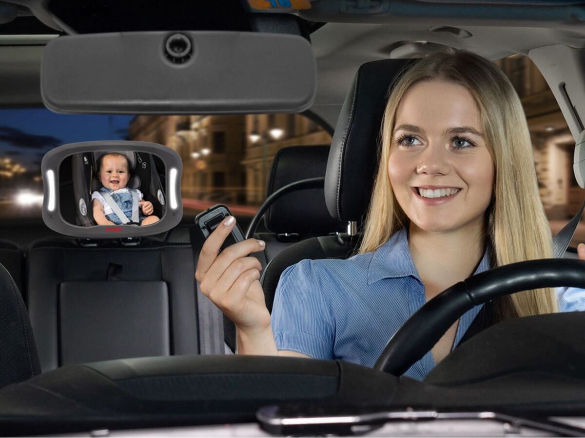Bild 3 von Reer Auto-Sicherheitsspiegel mit Licht »BabyView«, große, gewölbte Spiegelfläche