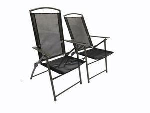 Vcm Set Gartenstuhl Stühle Stuhl Metall Textilene klappbar verstellbar, 2 Stühle: