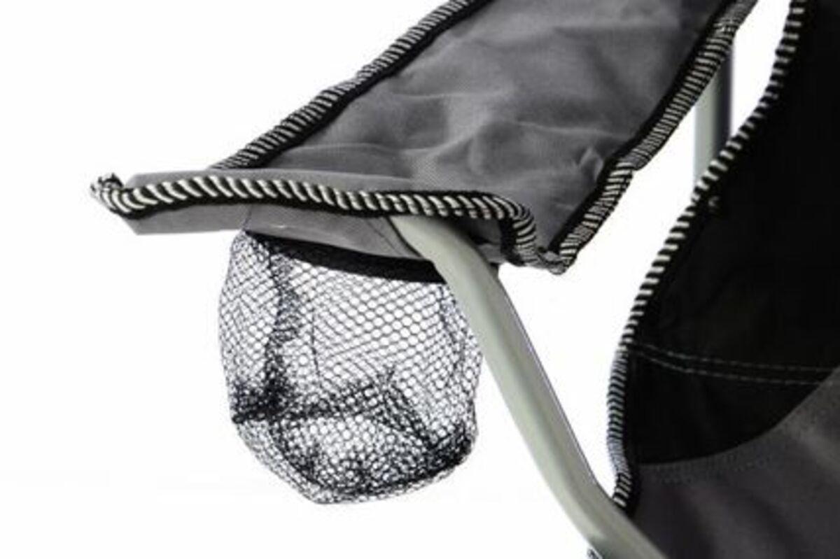 Bild 3 von Vcm Campingstuhl Faltstuhl grau schwarz mit Armlehne Getränkehalter Angelstuhl,