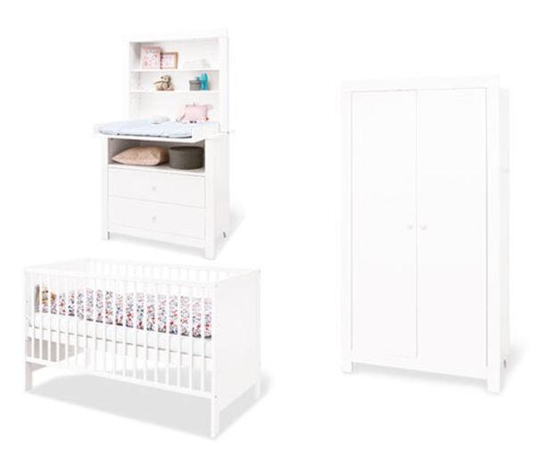 Pinolino Baby-Zimmer-Set »Liv«, Kleiderschrank 2-türig, Wickelkommode breit, weiß
