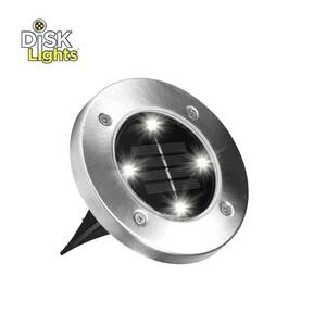 Disk-Lights LED-Gartenleuchten 4er-Set, leichte Montage, Lichtsensor für autom. Ein- uns Ausschalten