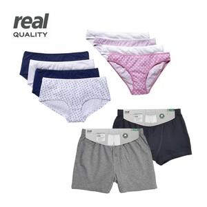 Damen- oder Herren-Unterwäsche 100 % Bio-Baumwolle, versch. Modelle und Größen, 2er/4er-Pack, ab