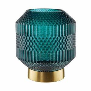HAILEY LED Lichtglas mit Goldrand H 19cm