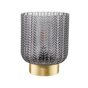 HAILEY LED Lichtglas mit Goldrand H 13cm