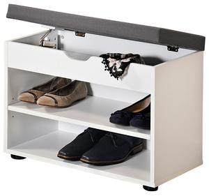 Kesper Schuhschrank mit Sitzkissen, Weiß