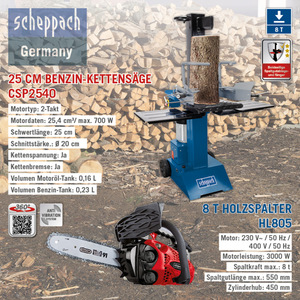 Scheppach XXL Holz-Kombi Paket, 8T - Holzspalter HL805, 230V + Benzin-Kettensäge CSP2540