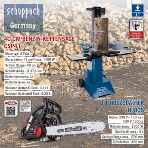 Scheppach XXL Holz-Kombi Paket, 8T - Holzspalter HL805, 400V + Benzin-Kettensäge CSP41