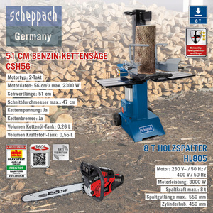 Scheppach XXL Holz-Kombi Paket, 8T - Holzspalter HL805, 230V + Benzin-Kettensäge CSH56