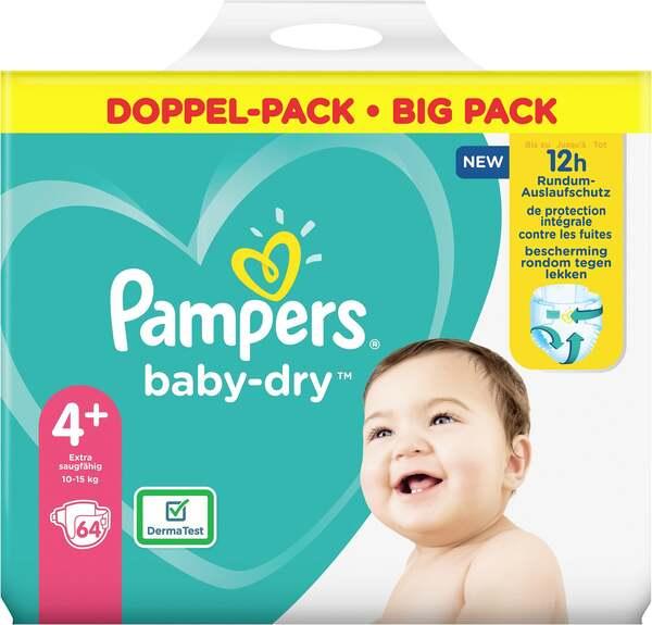 Pampers Windeln baby-dry Größe 4+ (10-15 kg) Doppelpack