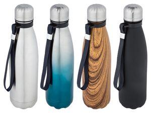 ERNESTO® Isolierflasche, 0,5 l Fassungsvermögen, mit Trageschlaufe, aus Edelstahl