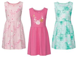 LUPILU® Kleid Mädchen, in der Taille angesetzter Rock, aus reiner Baumwolle