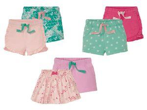 LUPILU® Kleinkinder Shorts/Rock Mädchen, 2 Stück, mit Gummizugbund, aus reiner Baumwolle