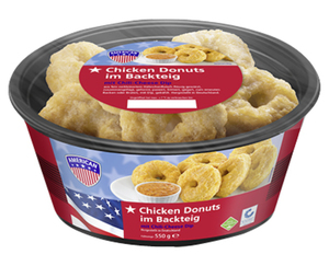 AMERICAN Chicken Donuts im Backteig mit Chili-Cheese-Dip