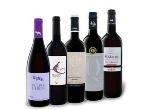 5 x 0,75-l-Flasche Weinpaket Malbec aus fünf Ländern
