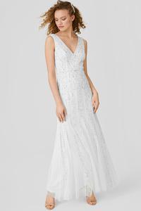 C&A Column Kleid-Glanz-Effekt-festlich, Beige, Größe: 44
