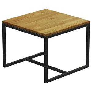 COUCHTISCH Eiche massiv, mehrschichtige Massivholzplatte (Tischlerplatte), Hartholz quadratisch Naturfarben, Schwarz