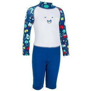 Badeanzug Shorty langarm UV-Schutz Kinder blau/weiß mit Print