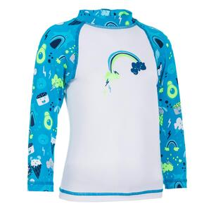 UV-Shirt langarm Baby weiß/blau mit Print