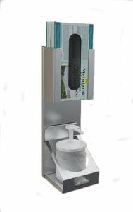 Desinfektionsbehälter ohne Dosierer aus INOX-Stah und Einweghandschuhhalter