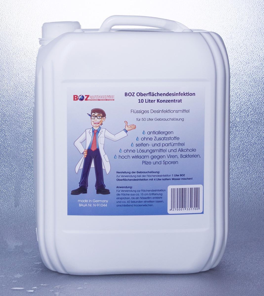 Bild 1 von Desinfektion, 10 Liter Desinfektionsmittel, BOZ Oberflächendesinfektion Konzentrat, für 50 Liter Gebrauchslösung