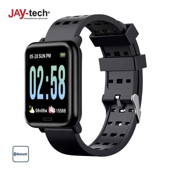 Fitness Tracker BT36G · Farbdisplay · Schrittzähler, Kalorienverbrauch · Herzfrequenzmessung, Blutdrucksensor · Schlafüberwachung · Push-Nachrichten · Spritzwassergeschützt