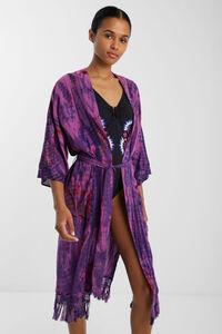 Langer Boho-Kimono mit Fransen