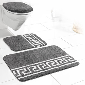 Sensino Badezimmer-Garnitur für Hänge-WC, 3-tlg. - Anthrazit Mäander