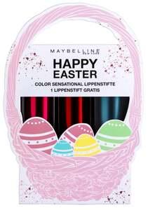 Maybelline New York Geschenkset Osterkörbchen 1: 3 Color Sensational Lippenstifte (987, 540, 407)