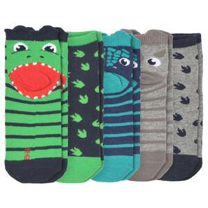 5 Paar Jungen Sneaker-Socken mit Dino-Motiven