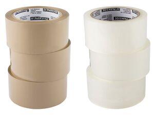 PARKSIDE® Packband, 2x 3er Set, transparent und braun, leise abrollend