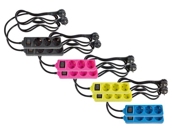 SILVERCREST® Steckdosenleiste, 2 Stück, Flachstecker, Kinderschutz, beleuchteter Schalter