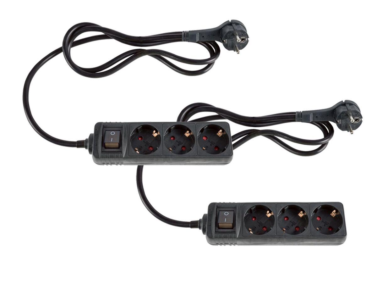 Bild 5 von SILVERCREST® Steckdosenleiste, 2 Stück, Flachstecker, Kinderschutz, beleuchteter Schalter