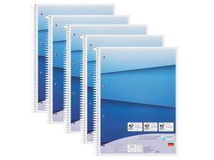 UNITED OFFICE® Collegeblock, 5 Stück, DIN A4, 100 Blatt pro Block, liniert