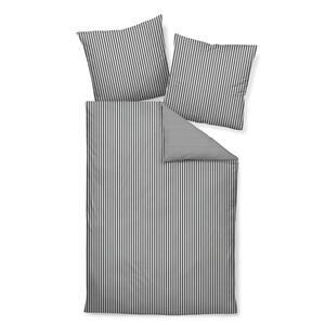 BETTWÄSCHE Makosatin Anthrazit, Weiß 135/200 cm