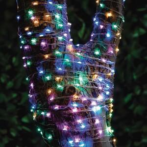 Lichterkette Solar 200 Micro LEDs pastellton