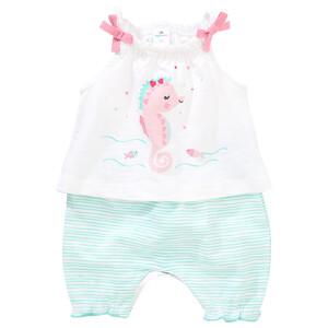 Baby Strampler mit Seepferdchen-Print