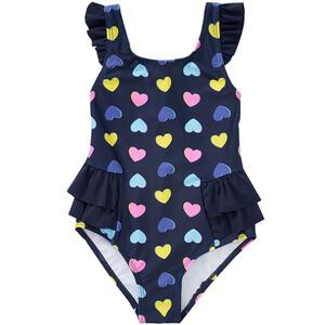Mädchen Badeanzug mit bunten Herzen allover