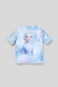 C&A Die Eiskönigin-Kurzarmshirt-Glanz-Effekt, Blau, Größe: 110/116